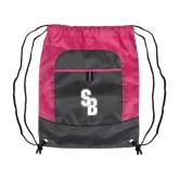 Nylon Pink Raspberry/Deep Smoke Pocket Drawstring Backpack-Interlocking SB