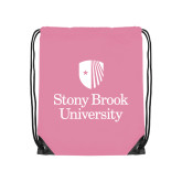 Light Pink Drawstring Backpack-University Mark Vertical