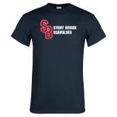 Navy T Shirt-Interlocking SB Stony Brook Seawolves