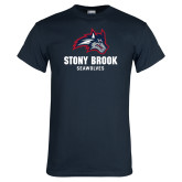 Navy T Shirt-Wolfie Head and Stony Brook Seawolves