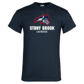 Navy T Shirt-Wolfie Head Stony Book Lacrosse