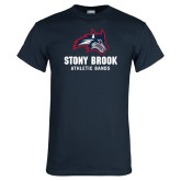 Navy T Shirt-Wolfie Head Stony Book Athletic Bands
