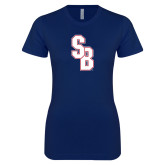 Next Level Ladies SoftStyle Junior Fitted Navy Tee-Interlocking SB