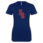 Next Level Ladies SoftStyle Junior Fitted Navy Tee-Interlocking SB Red Glitter