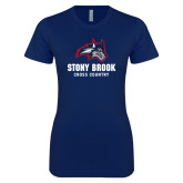 Next Level Ladies SoftStyle Junior Fitted Navy Tee-Wolfie Head Stony Book Cross Country
