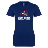 Next Level Ladies SoftStyle Junior Fitted Navy Tee-Wolfie Head Stony Book Swimming and Diving