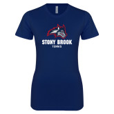 Next Level Ladies SoftStyle Junior Fitted Navy Tee-Wolfie Head Stony Book Tennis