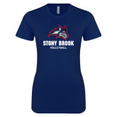 Next Level Ladies SoftStyle Junior Fitted Navy Tee-Wolfie Head Stony Book Volleyball