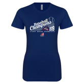 Next Level Ladies SoftStyle Junior Fitted Navy Tee-2019 Baseball Champions