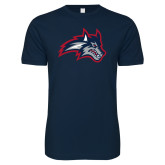 Next Level SoftStyle Navy T Shirt-Wolfie Head