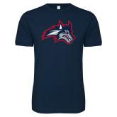 Next Level SoftStyle Navy T Shirt-Wolfie Head