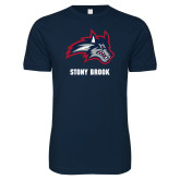 Next Level SoftStyle Navy T Shirt-Wolfie Head and Stony Brook