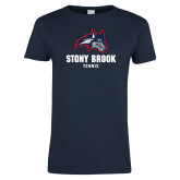 Ladies Navy T Shirt-Wolfie Head Stony Book Tennis
