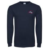Navy Long Sleeve T Shirt-Wolfie Head