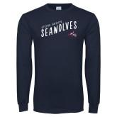 Navy Long Sleeve T Shirt-Stony Brook Seawolves