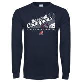 Navy Long Sleeve T Shirt-2019 Baseball Champions
