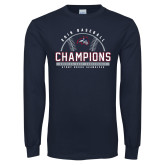 Navy Long Sleeve T Shirt-2019 America East Baseball Champions
