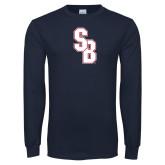 Navy Long Sleeve T Shirt-Interlocking SB