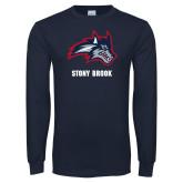 Navy Long Sleeve T Shirt-Wolfie Head and Stony Brook
