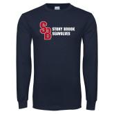 Navy Long Sleeve T Shirt-Interlocking SB Stony Brook Seawolves