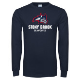 Navy Long Sleeve T Shirt-Wolfie Head and Stony Brook Seawolves