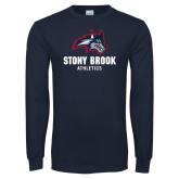 Navy Long Sleeve T Shirt-Wolfie Head and Stony Brook Athletics