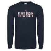 Navy Long Sleeve T Shirt-Stacked Distressed
