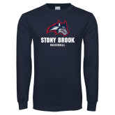 Navy Long Sleeve T Shirt-Wolfie Head Stony Book Baseball