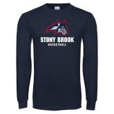 Navy Long Sleeve T Shirt-Wolfie Head Stony Book Basketball