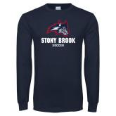 Navy Long Sleeve T Shirt-Wolfie Head Stony Book Soccer