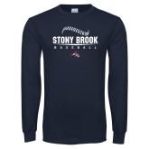 Navy Long Sleeve T Shirt-Baseball Seams