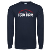 Navy Long Sleeve T Shirt-Football Stacked