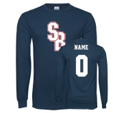 Navy Long Sleeve T Shirt-Interlocking SB, Custom Tee w/ Name and #