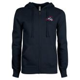 ENZA Ladies Navy Fleece Full Zip Hoodie-Wolfie Head