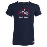 Ladies Russell Navy Essential T Shirt-Wolfie Head and Stony Brook