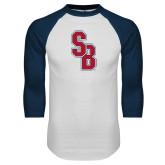 White/Navy Raglan Baseball T Shirt-Interlocking SB