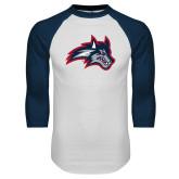 White/Navy Raglan Baseball T Shirt-Wolfie Head