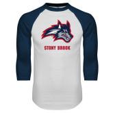 White/Navy Raglan Baseball T Shirt-Wolfie Head and Stony Brook