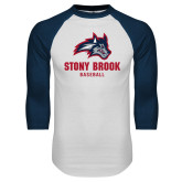 White/Navy Raglan Baseball T Shirt-Wolfie Head Stony Book Baseball