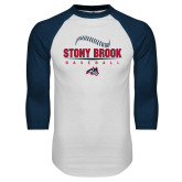 White/Navy Raglan Baseball T Shirt-Baseball Seams