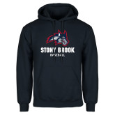 Navy Fleece Hoodie-Wolfie Head Stony Book Baseball