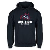 Navy Fleece Hoodie-Wolfie Head Stony Book Basketball