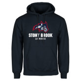 Navy Fleece Hoodie-Wolfie Head Stony Book Lacrosse