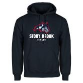 Navy Fleece Hoodie-Wolfie Head Stony Book Soccer
