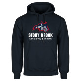 Navy Fleece Hoodie-Wolfie Head Stony Book Swimming and Diving