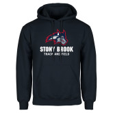 Navy Fleece Hoodie-Wolfie Head Stony Book Track and Field