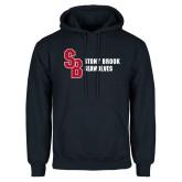 Navy Fleece Hoodie-Interlocking SB Stony Brook Seawolves