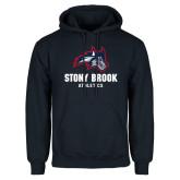 Navy Fleece Hoodie-Wolfie Head and Stony Brook Athletics