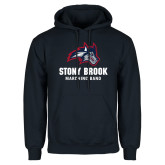 Navy Fleece Hoodie-Wolfie Head Stony Book Marching Band