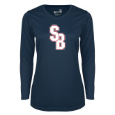 Ladies Syntrel Performance Navy Longsleeve Shirt-Interlocking SB